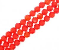 Crystal Glass Faceted Round 10mm 70pcs Red