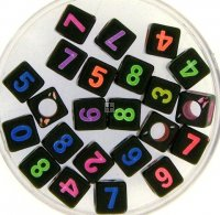 Acrylic Numbers 6mm Assorted 55pcs