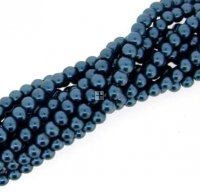 Chinese Glass Pearl Round 4mm 200pcs Air Force Blue