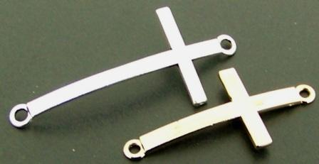 Connector CROSS 50x30mm 2pcs Silver