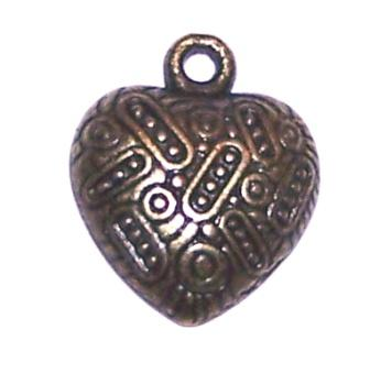 Charm Ant Bronze Heart 19mm 10pcs