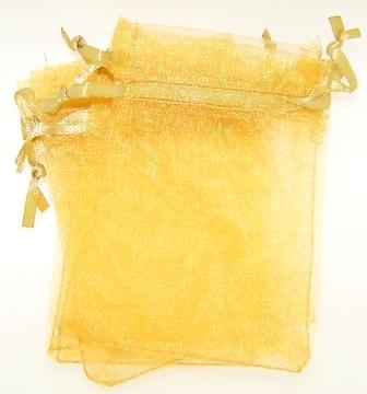 Organza Bag 90x65mm drawstring Gold Each
