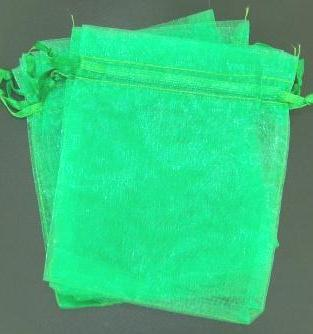 Organza Bag 90x65mm drawstring Green each