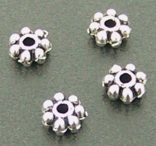 Spacer Antique Silver 4mm Daisy 50pcs
