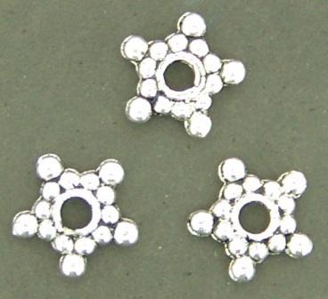 Spacer Antique Silver Daisy Star 8mm 50pcs