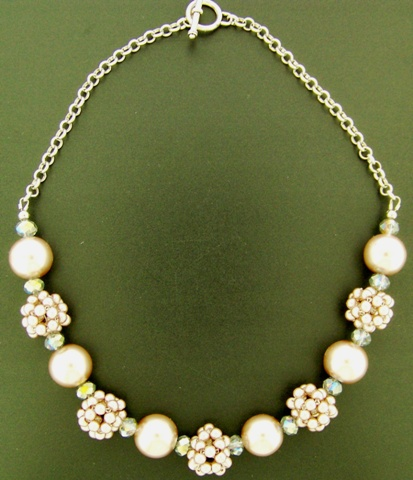 Kit - Beaded Ball Necklace With Crystals