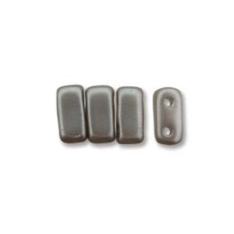 Czech Brick Beads 2-Hole 3x6mm 50pcs Silver