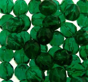 Czech F/Polished Faceted Round 8mm 50pcs Emerald