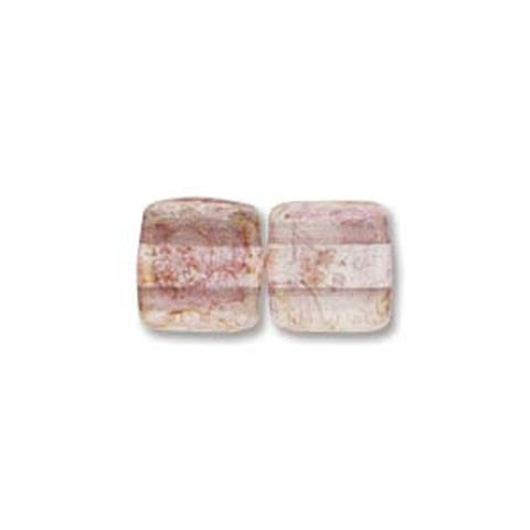 Czech Two Hole Tile 6mm 25pcs Inside Topaz/Pink