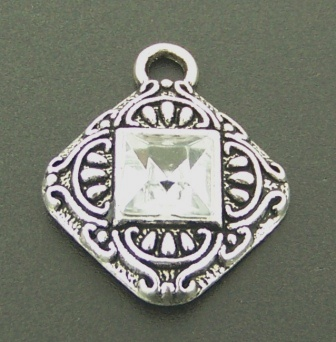 Pendant With Zirconia 18x18mm 2pcs Antique Silver