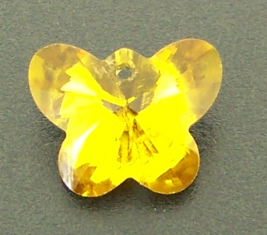 Crystal Butterfly Pendant 14mm 8pcs Topaz