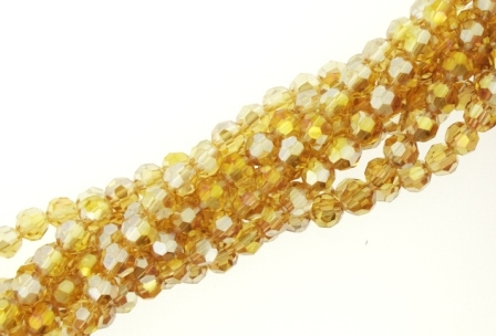 Crystal Bead Multifaceted Round 6mm 55pcs Topaz AB