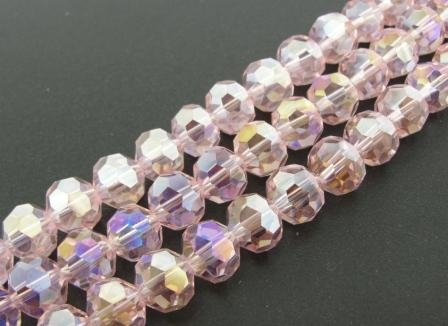 Crystal Bead Multifaceted Round 6mm 55pcs Pink AB