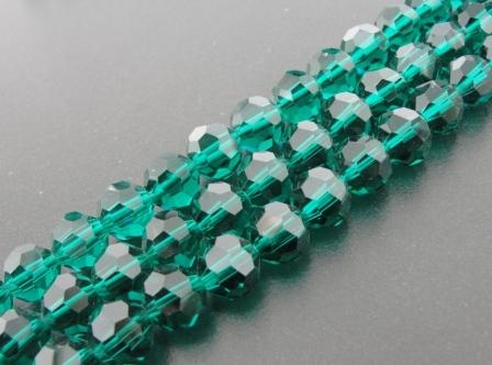 Crystal Bead Multifaceted Round 6mm 55pcs Teal