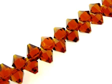 Crystal Bicone Top Drilled 6mm 50pcs Topaz