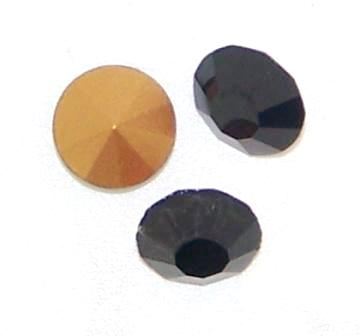 Chaton Faceted Gold Foiled SS-11.5 3.0 mm Jet 20 pcs