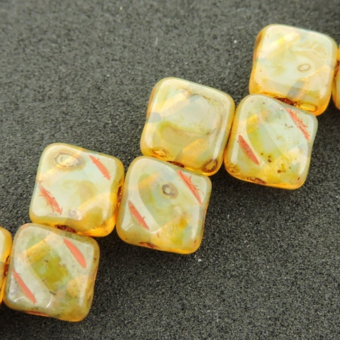 Czech 2 Hole Silky Beads 6mm Milky Jonquil Picasso 40pcs