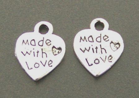 "Charm heart ""made with love"" 25pcs"