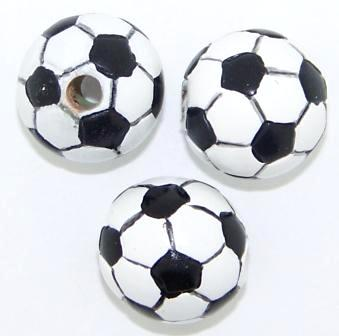 Acrylic Soccer Ball Beads 14mm Black/White 1pc
