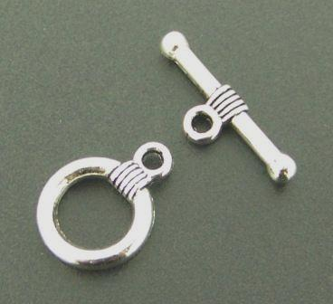 Toggle Clasp Round 10 sets Antique Silver