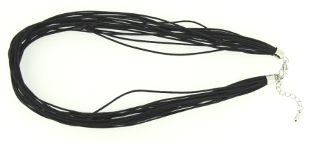 Waxed Cord Choker Necklace 45cm 20 strands Black 1pcs